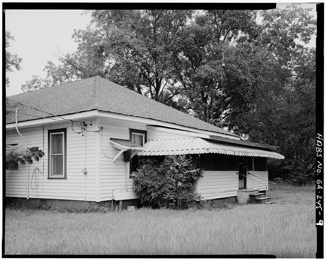 9.  SOUTHEAST SIDE AND NORTHEAST REAR, LOOKING WEST - Jimmy Carter Boyhood Home, Old Plains Highway (Lebanon Cemetery Road), Plains, Sumter County, GA