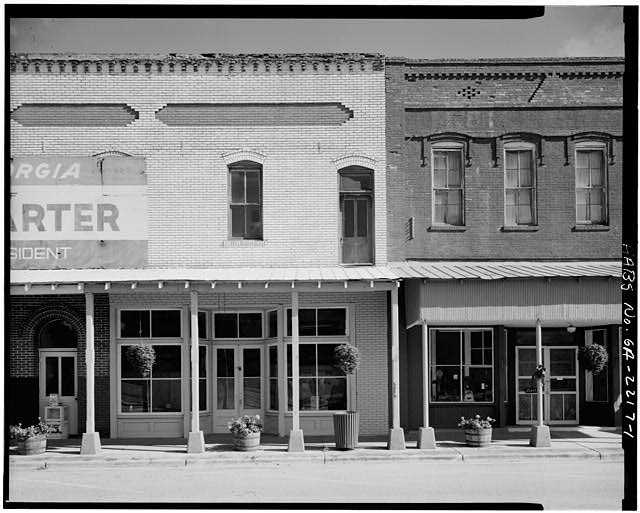 1.  EAST PORTION OF NORTH FRONT AND ADJACENT BUILDING TO EAST - Lunsford-French-Timmerman General Store, Main Street, Plains, Sumter County, GA