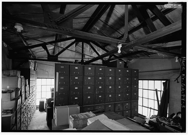 3.  INTERIOR OF ARCHIVES LOOKING WEST BUILDING ERECTED CIRCA 1927, 1ST FLOOR METALLURGICAL LAB, 2ND FLOOR ENGINEERING DEPT - Glover Machine Works, 651 Butler Street, Marietta, Cobb County, GA