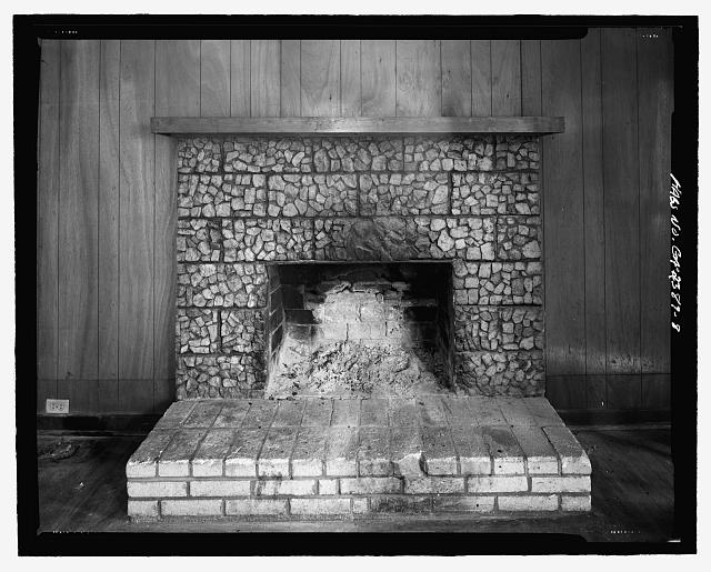 Interior detail of living room mantel - J.W. Mann House, 1918 Dresden Drive, Chamblee, Decatur County, GA