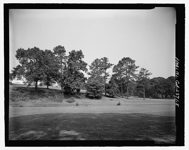 VIEW WEST OF LANDSCAPING IN PARK - Candler Park Historic District, Roughly bounded by Moreland, Dekalb, McLendon & Harold Avenues, Matthews Street  & Clifton Terrace, Atlanta, Fulton County, GA