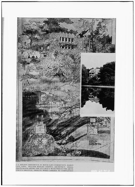 3.  Photocopy form Western Architect, Vol, 19, No. 8, August 1913, following page 80. 'TOWN AND COMMUNITY PLANNING, WALTER BURLEY GRIFFEN.' ORIGINAL PRESENTATION DRAWING AT NORTHWESTERN UNIVERSITY, ART DEPARTMENT. - Joshua G. Melson House, 56 River Heights Drive, Mason City, Cerro Gordo County, IA