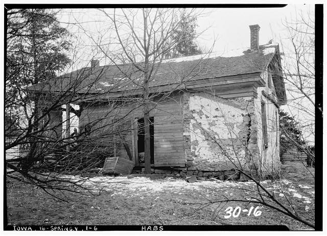 6.  Historic American Buildings Survey C.C. Woodburn, Photographer. February 16, 1934 NORTH ELEVATION - William Maxson House, State Highway No. 1, Springdale, Cedar County, IA