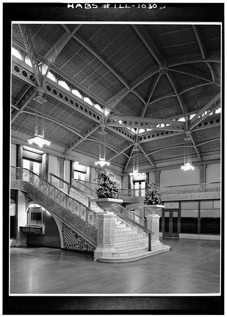 7.  Historic American Buildings Survey Cervin Robinson, Photographer July 1963 INTERIOR - MAIN LOBBY FROM GROUND LEVEL - Rookery Building, 209 South LaSalle Street, Chicago, Cook County, IL