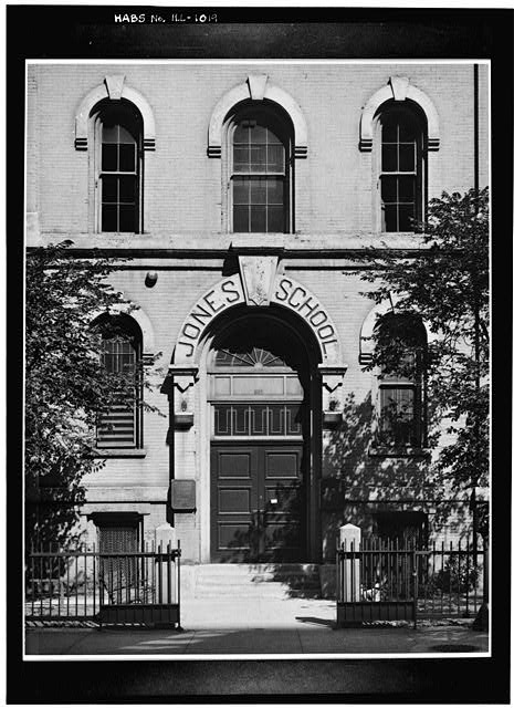 2.  Historic American Buildings Survey Cervin Robinson, Photographer 14 August 1963 MAIN ENTRANCE - WEST (FRONT) ELEVATION - Jones School, 607 South Plymouth Court, Chicago, Cook County, IL