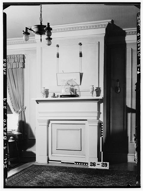 9.  Historic American Buildings Survey Albert J. DeLong, Photographer, Feb. 28, 1934 DETAIL OF MANTEL (Bed room - north west wall 2d FLOOR) - Christopher C. Sturtevant House, 301 Washington Street, Beardstown, Cass County, IL
