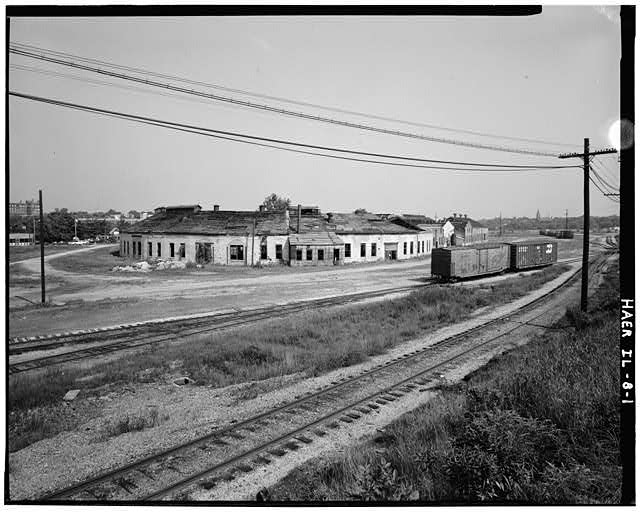 Roadhouse and shops from the Chicago, Burlington and Quincy railroad mainline, facing northeast - Chicago, Burlington & Quincy Railroad, Roundhouse & Shops, Broadway & Spring Streets, Aurora, Kane County, IL