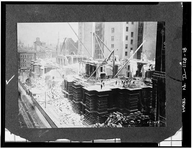 18.  Demolition,down to first floor,showing new county building - Chicago City Hall, 121 North LaSalle Street, Chicago, Cook County, IL