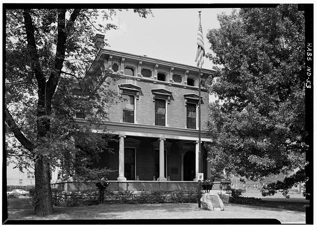August 1970 EAST FRONT FROM SOUTHEAST - Benjamin Harrison House, 1230 North Delaware Street, Indianapolis, Marion County, IN