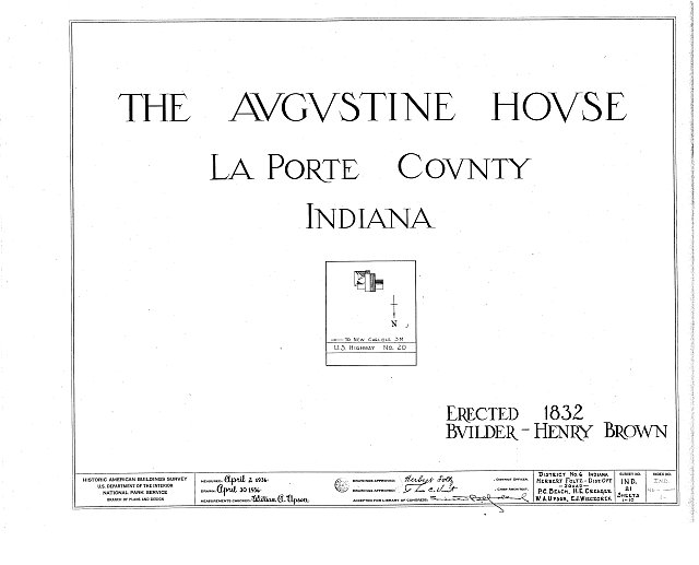 HABS IND,46-____,1- (sheet 0 of 10) - Brown-Augustine House, U.S. Highway 20, New Carlisle, St. Joseph County, IN