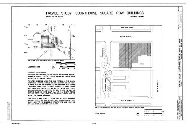HABS IND,48-AND,1- (sheet 1 of 4) - Courthouse Square Row Buildings, Facade Study, Ninth Street, Anderson, Madison County, IN