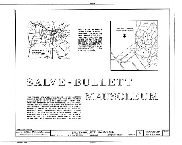 HABS KY,56-LOUVI,11A- (sheet 1 of 4) - Cave Hill Cemetery, Salve-Bullett Mausoleum, Cave Hill Cemetery, Louisville, Jefferson County, KY