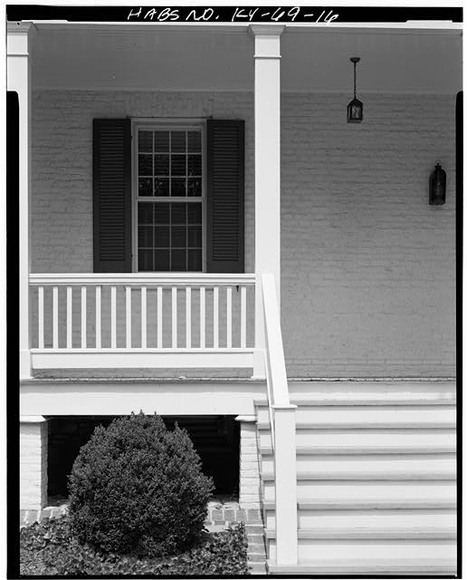 16.  SOUTH VIEW OF REAR WINDOW AND PORCH RAILING - Zachary Taylor House, 5608 Apache Road (formerly Blankenbaker Lane), Saint Matthews, Jefferson County, KY