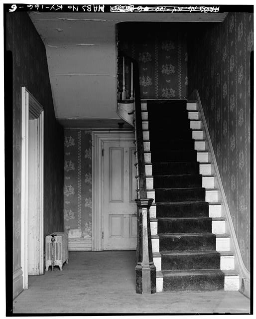 6.  FIRST FLOOR, STAIRCASE - Thomas J. Bruce House, State Route 8 (south side), Vanceburg, Lewis County, KY