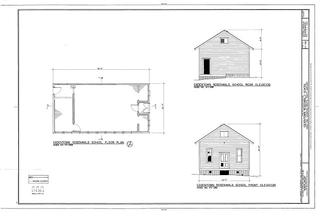 2. Plan and elevations - Cadentown Rosenwald School, Caden Lane, Lexington, Fayette County, KY