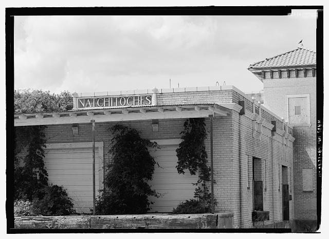 "11.  Telephoto view of south end """"Natchitoches"" sign in tile - Texas & Pacific Railway Depot, Seventh Street, Natchitoches, Natchitoches Parish, LA"
