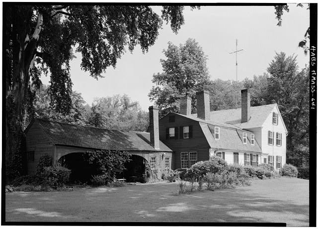 7.  Historic American Buildings Survey Cervin Robinson, Photographer August 1959 EXTERIOR VIEW FROM SOUTHWEST - Captain Thomas Dickinson House, Old Deerfield Street, Deerfield, Franklin County, MA