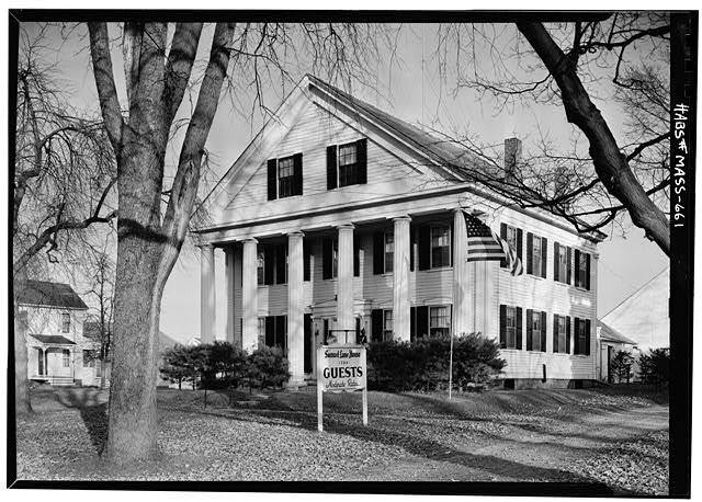 1.  Historic American Buildings Survey VIEW FROM SOUTH WEST (SHOWING FRONT AND INCLUDING SOUTH SIDE) - November 1959 - Captain Samuel Lane House, 33 Main Street, Northfield, Franklin County, MA