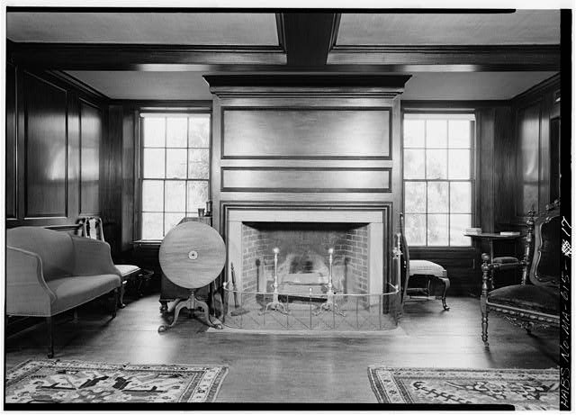 Mahogany paneled room, west wall - Adams Mansion, 135 Adams Street, Quincy, Norfolk County, MA