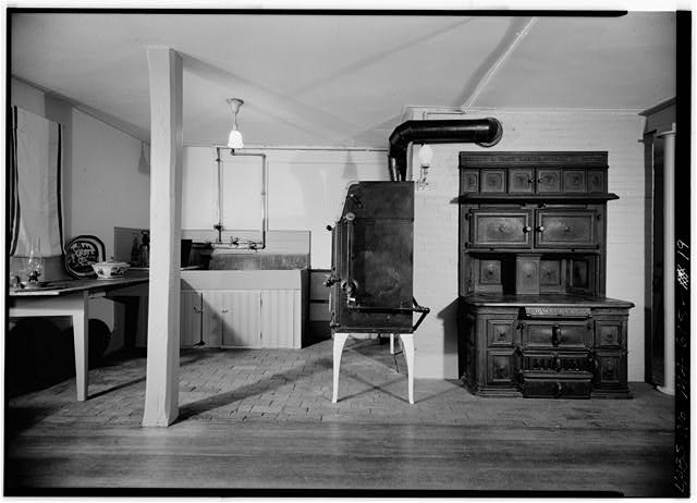 Kitchen, adjacent to rear wall of original 1731 house, looking north - Adams Mansion, 135 Adams Street, Quincy, Norfolk County, MA