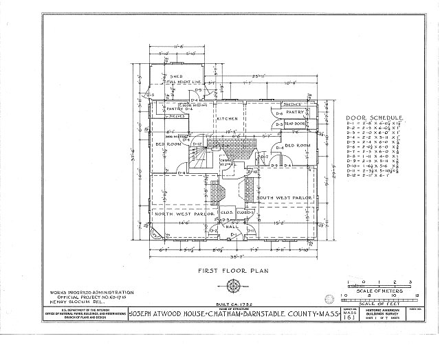 HABS MASS,1-CHAT,2- (sheet 1 of 7) - Joseph Atwood House, Atwood Street, Chatham, Barnstable County, MA