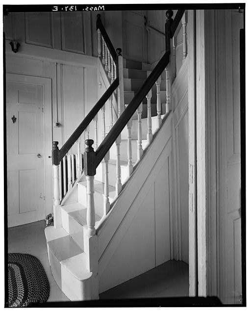 8.  Historic American Buildings Survey, Arthur C. Haskell, Photographer 1936 (e) Int- Entrance Staircase- side view. - Jabez Wilder House, Main Street, Hingham, Plymouth County, MA