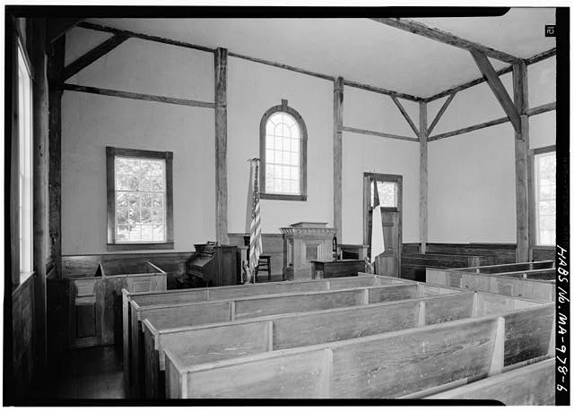 6.  INTERIOR, LOOKING NORTH TOWARD PULPIT - Old Indian Church, Mashpee, Barnstable County, MA