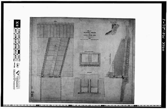 1.  Photocopy of a drawing (original in the Collection of the PL&C, Shelf 118, Drawing 241)--February 1888--PLAN OF SLUICE WAYS AS RECONSTRUCTED IN 1887 - Pawtucket Canal, Lower Locks, Lowell, Middlesex County, MA