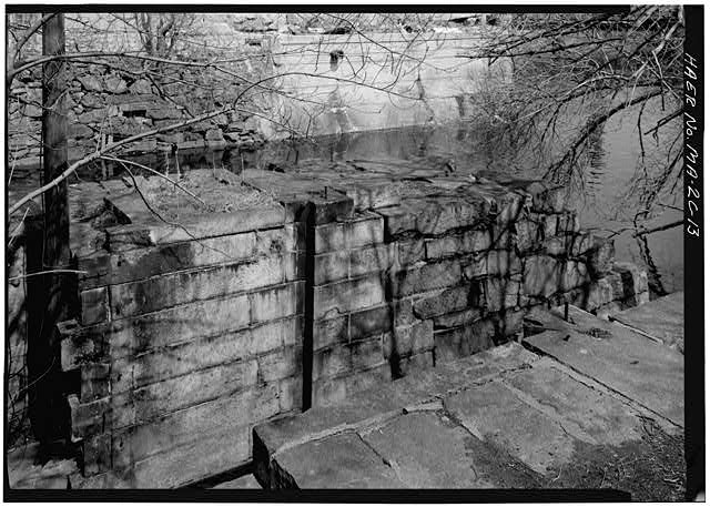13.  OUTLET OF THE LOWER LOCK CHAMBER--GATES ARE NO LONGER EXTANT 1976 - Pawtucket Canal, Lower Locks, Lowell, Middlesex County, MA