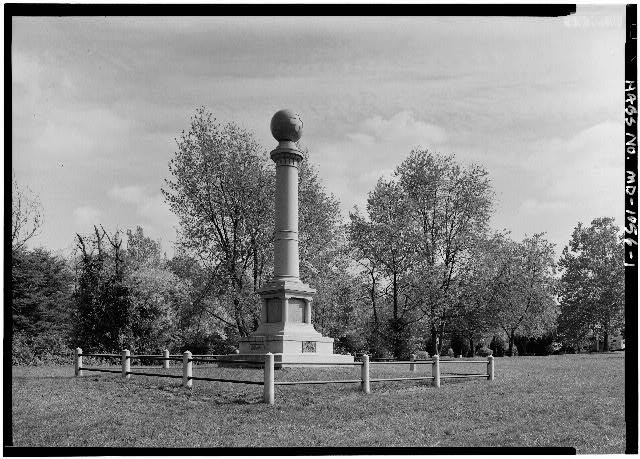 1.  GENERAL PERSPECTIVE VIEW FROM WEST, SHOWING SOUTHWEST (FRONT) AND NORTHWEST SIDE - 67th, 87th & 138th Regiments Pennsylvania Volunteers Monument, Araby Church Road, Northwest of Baker Balley Road, Frederick, Frederick County, MD
