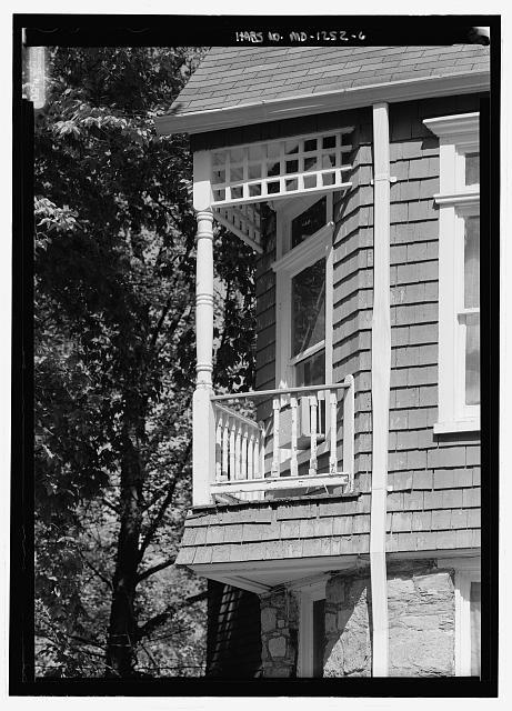 Telephoto view to show the second-floor alcove at the southwest corner - Braemar, Silver Spring, Montgomery County, MD