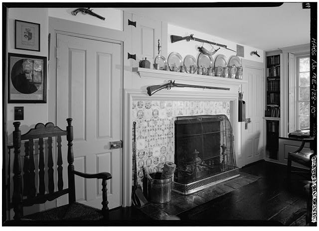 10.  INTERIOR, FIRST FLOOR, LIBRARY/STUDY, FIREPLACE WALL (SOUTH WALL) - William Pepperrell House, State Route 103, Kittery Point, York County, ME