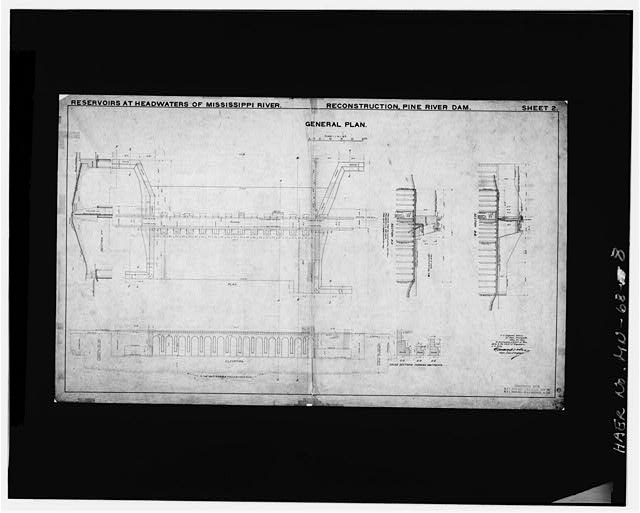 8.  Photographic copy of drawing, 1905, reconstruction - Pine River Reservoir Dam, Cross Lake, Crow Wing County, MN