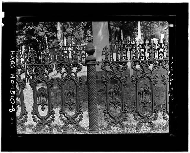 8.  CAST-IRON FENCE WITH WILLOW MOTIF - Cemetery, Lexington, Lafayette County, MO