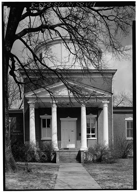 3.  WEST WING, CENTRAL PORTICO AND TOWER CLOSE UP - University of Mississippi, Barnard Observatory, University Circle, Oxford, Lafayette County, MS