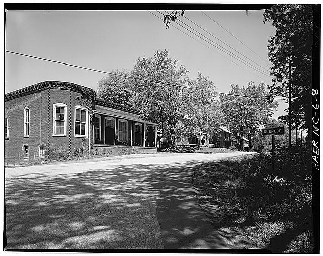 8.  JoAnn Sieburg-Baker, Photographer, April 1978. STREETSCAPE OF COMPANY STORE AND HOUSES. - Glencoe Cotton Mills, State Routes 1598 & 1600, Glencoe, Alamance County, NC