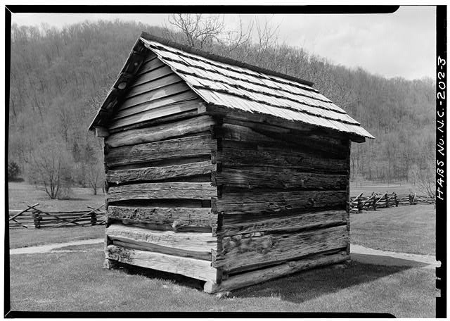 Rear and side - Pioneer Farmstead, Meat House, U.S. Route 441 (moved from NC, Cataloochee), Cherokee, Swain County, NC