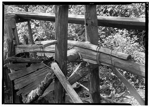 6.  Historic American Buildings Survey, Edouard E. Exline, Photographer September 22, 1935 DETAIL OF ROCKER. - Pounding Mill, Pioneer Museum, Route 441 (moved from Deep Creek), Cherokee, Swain County, NC