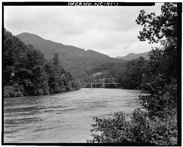 1.  VIEW OF BRIDGE FROM SOUTHEAST - North Carolina Route 1314 Bridge, Spanning Toe River, Relief, Mitchell County, NC