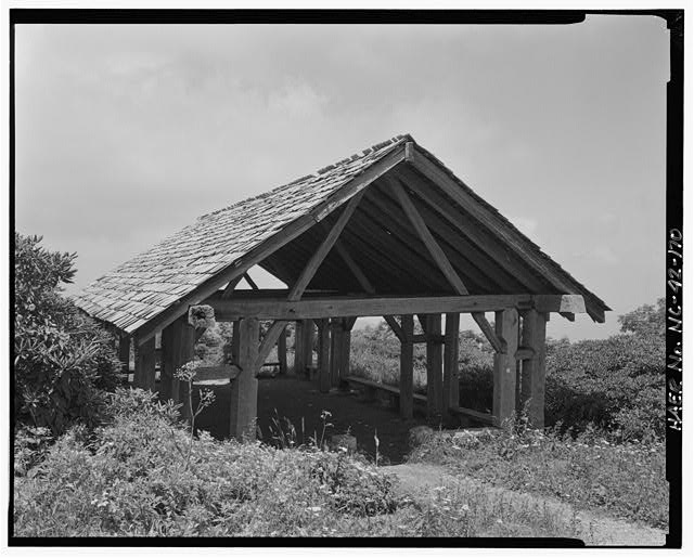 170.  View of large trail shelter built for the United States Forest Service by the Civilian Conservation Corps in 1938 on Craggy Knob. Facing northwest. - Blue Ridge Parkway, Between Shenandoah National Park & Great Smoky Mountains, Asheville, Buncombe County, NC