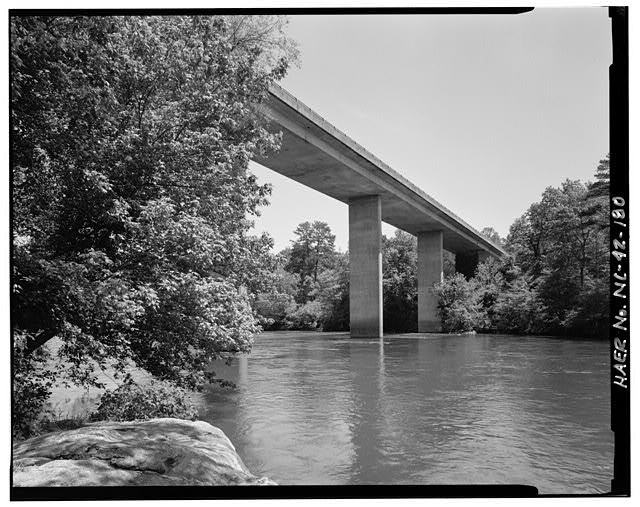 180.  French Broad River Bridge. This 10-span, 925 concrete box girder bridge, built in 1967, also crosses North Carolina route 191. Looking north-northeast. - Blue Ridge Parkway, Between Shenandoah National Park & Great Smoky Mountains, Asheville, Buncombe County, NC