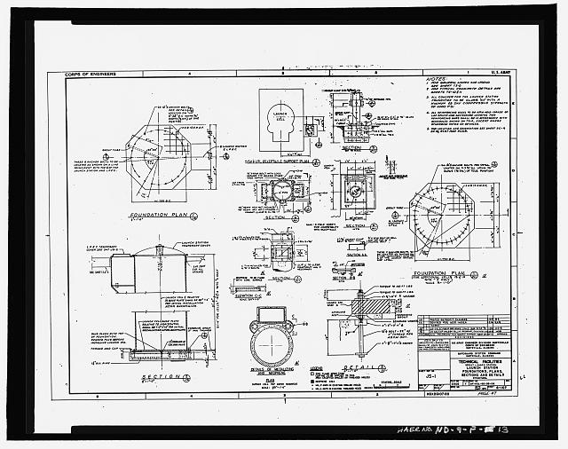 13.  Photographic copy of original design drawing, dated May 1971, revised 16 April 1974 (original Army Operational Drawing in the possession of the U.S. Army Corps of Engineers, Huntsville Division). Sprint launch station and antenna foundation, plans, section details - Stanley R. Mickelsen Safeguard Complex, Missile Launch Area, Within Exclusion Area, Nekoma, Cavalier County, ND