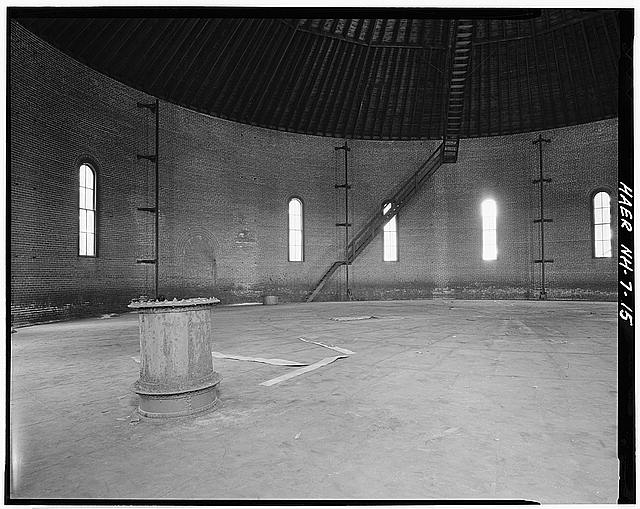 15.  Interior view showing top of gasholder tank and inlet cylinder. - Concord Gas Light Company, Gasholder House, South Main Street, Concord, Merrimack County, NH