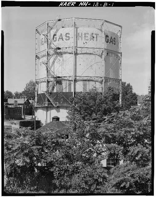 1.  VIEW OF 1922 GAS HOLDER - Concord Gas Light Company, 1922 Gasholder, South Main Street, Concord, Merrimack County, NH
