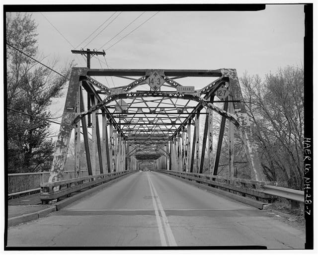 7.  View looking northwest, showing southeast portal. - Manchester Street Bridge, Spanning Merrimack River at Manchester Street (U.S. Route 3), Concord, Merrimack County, NH