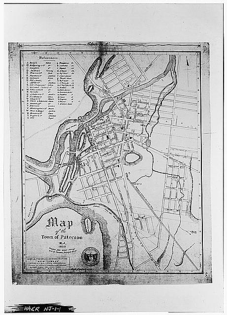 1.  PHOTOCOPY OF MAP -- 1835: TOWN OF PATERSON, NEW JERSEY: 1835. (photo made from a 5x7 negative) - Great Falls S. U. M. Historic District, Oliver Street, Paterson, Passaic County, NJ
