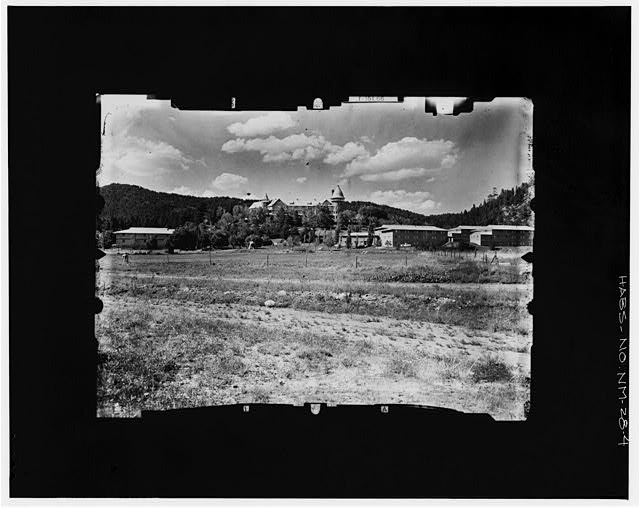 4.  SOUTH ELEVATION IN DISTANT VIEW FROM FIELDS BELOW Copy photograph of photogrammetric plate LC-HABS-GS05-B-1976-404R. - Montezuma Hotel, Gallinas Canyon, Las Vegas, San Miguel County, NM
