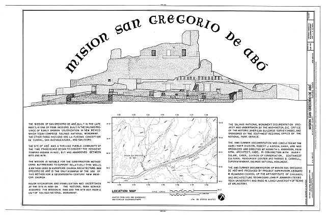 HABS NM,29-ABOP,1- (sheet 1 of 14) - Mission San Gregorio de Abo, State Highway 513, Mountainair vicinity, Abo, Torrance County, NM