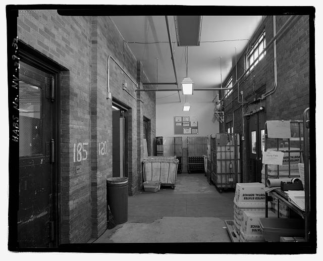 INTERIOR FIRST FLOOR VIEW, MAILING VESTIBULE, FACING WEST - United States Post Office & Court House, 300 East Steward Avenue, Las Vegas, Clark County, NV