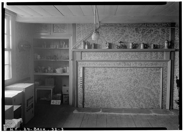 3.  Historic American Buildings Survey, E.P. MacFarland, Photographer May 8, 1934, DETAIL OF MANTEL AND CHINA CLOSET (WEST WALL--DINING ROOM). - Peter Wyckoff House, 5902 Canarsie Lane, Brooklyn, Kings County, NY